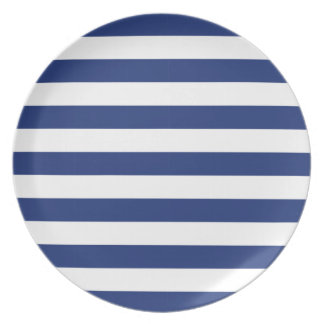 Lucky Point Blue and White Stripes Plate