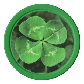 Lucky Poker Chips in Four Leaf Clover Design