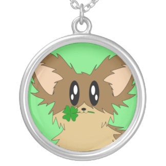 Lucky Puppy Dog with Four Leaf Clover Necklace