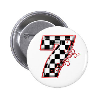 lucky race number 7 6 cm round badge