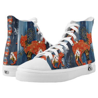 Lucky Red Cats Printed Shoes