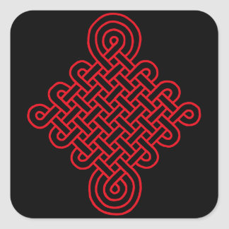 Lucky Red Chinese Knot Square Sticker