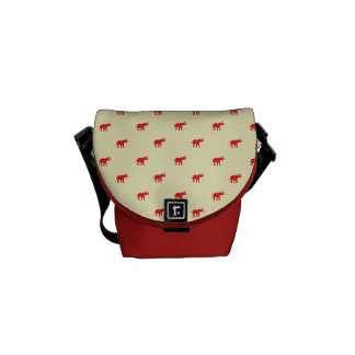 Lucky red elephant pattern courier bag