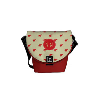 Lucky red elephant pattern messenger bags