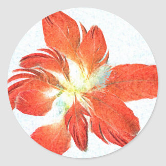 Lucky Red Feathers Flower stickers