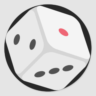 Lucky Rolling Dice Emoji Round Sticker
