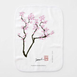 lucky sakura and pink goldfish, tony fernandes burp cloth
