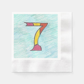 Lucky Seven on Cool Blues Set of Napkins Disposable Serviette
