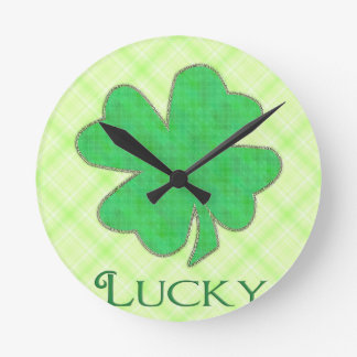 Lucky Shamrock #2 Round Clock