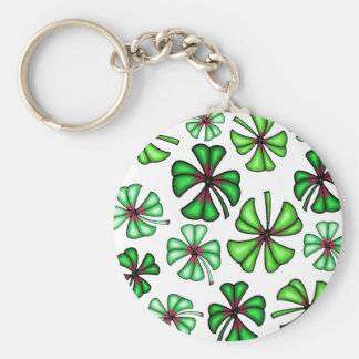 Lucky Shamrock Clover Basic Round Button Key Ring