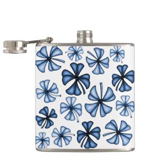 Lucky Shamrock Clover Blue Flasks