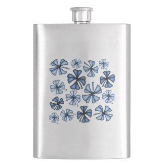 Lucky Shamrock Clover Blue Hip Flask