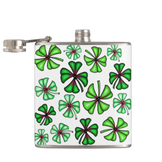 Lucky Shamrock Clover Flasks