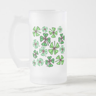 Lucky Shamrock Clover Frosted Glass Beer Mug