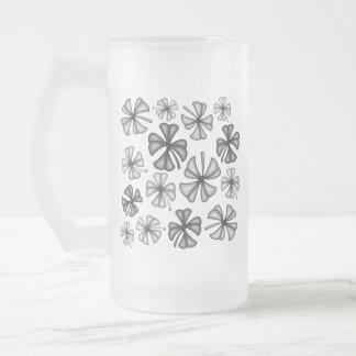 Lucky Shamrock Clover Grey Frosted Glass Beer Mug