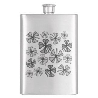Lucky Shamrock Clover Grey Hip Flask
