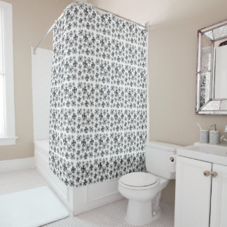 Lucky Shamrock Clover Grey Shower Curtain