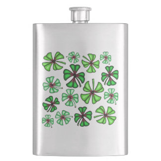 Lucky Shamrock Clover Hip Flask