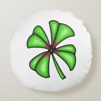 Lucky Shamrock Clover Round Cushion