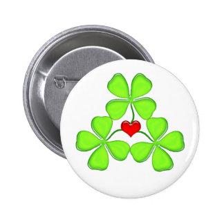 lucky shamrock Irish four-leaf clover St. Patrick Button