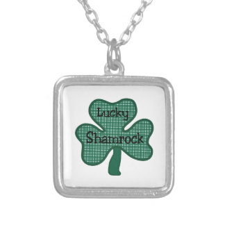 Lucky Shamrock Square Pendant Necklace