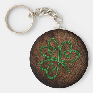 Lucky shamrock on leather texture basic round button key ring