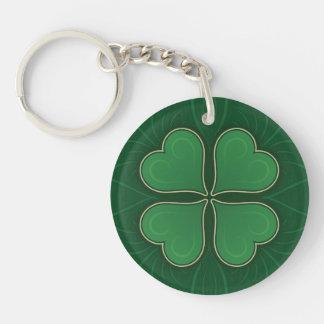 Lucky Shamrock Single-Sided Round Acrylic Key Ring