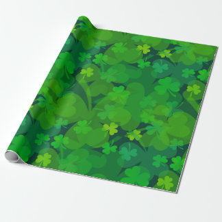 Lucky Shamrocks - Clovers All Over Wrapping Paper