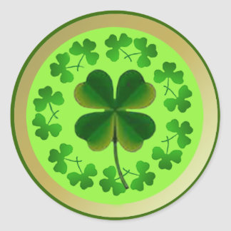 Lucky Shamrocks for St Patrick's Day Round Sticker