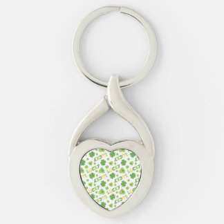 Lucky Shamrocks Silver-Colored Twisted Heart Keychain