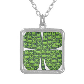 Lucky Shamrocks Silver Plated Necklace