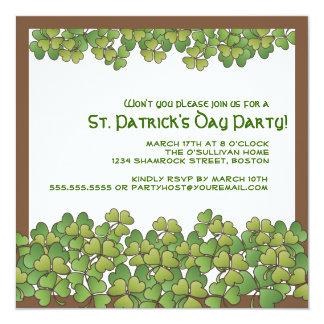 "Lucky Shamrocks St. Patrick's Day Party Invitation 5.25"" Square Invitation Card"