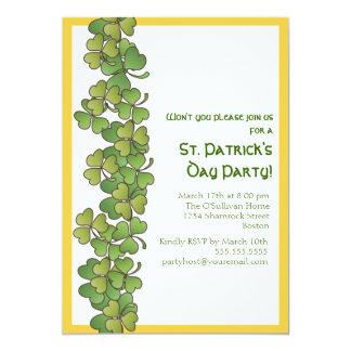 "Lucky Shamrocks St. Patrick's Day Party Invitation 5"" X 7"" Invitation Card"