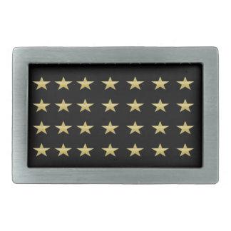 Lucky Stars Black With Gold Stars Design Belt Buckle