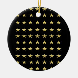 Lucky Stars Black With Gold Stars Design Ceramic Ornament