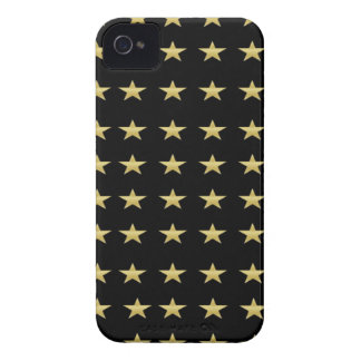 Lucky Stars Black With Gold Stars Design iPhone 4 Cases