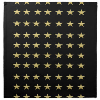 Lucky Stars Black With Gold Stars Design Napkin