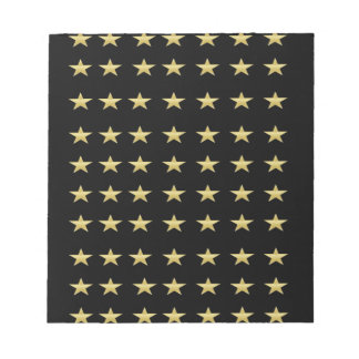 Lucky Stars Black With Gold Stars Design Notepad
