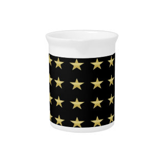 Lucky Stars Black With Gold Stars Design Pitcher