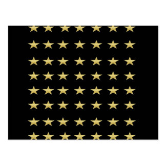Lucky Stars Black With Gold Stars Design Postcard