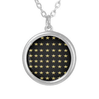 Lucky Stars Black With Gold Stars Design Silver Plated Necklace