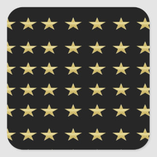 Lucky Stars Black With Gold Stars Design Square Sticker