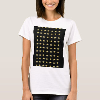 Lucky Stars Black With Gold Stars Design T-Shirt