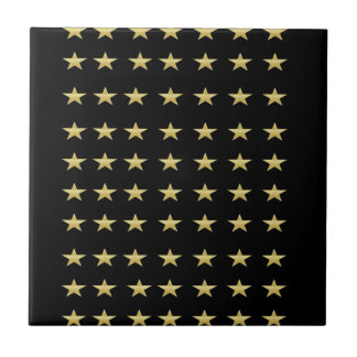 Lucky Stars Black With Gold Stars Design Tile