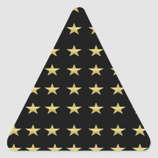 Lucky Stars Black With Gold Stars Design Triangle Sticker