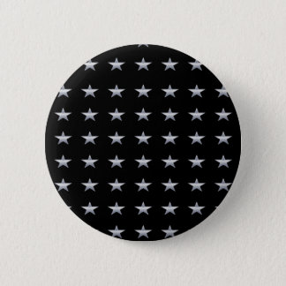 Lucky Stars Black With Silver Stars Design 6 Cm Round Badge
