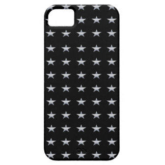 Lucky Stars Black With Silver Stars Design Barely There iPhone 5 Case