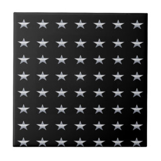 Lucky Stars Black With Silver Stars Design Ceramic Tile