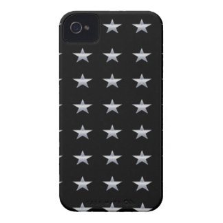 Lucky Stars Black With Silver Stars Design iPhone 4 Cover