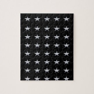 Lucky Stars Black With Silver Stars Design Jigsaw Puzzle